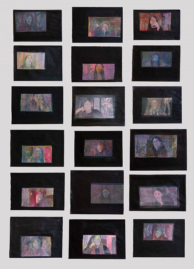 """Image description: this image documents a work titled """"Screenshots"""" from 2020. The work featured includes 18 acrylic and gouache paintings on paper. Each painting is 16 inches in height and 19 inches in width, all of which feature a black boarder surrounding paintings of images that have likely been made using a computer webcam."""