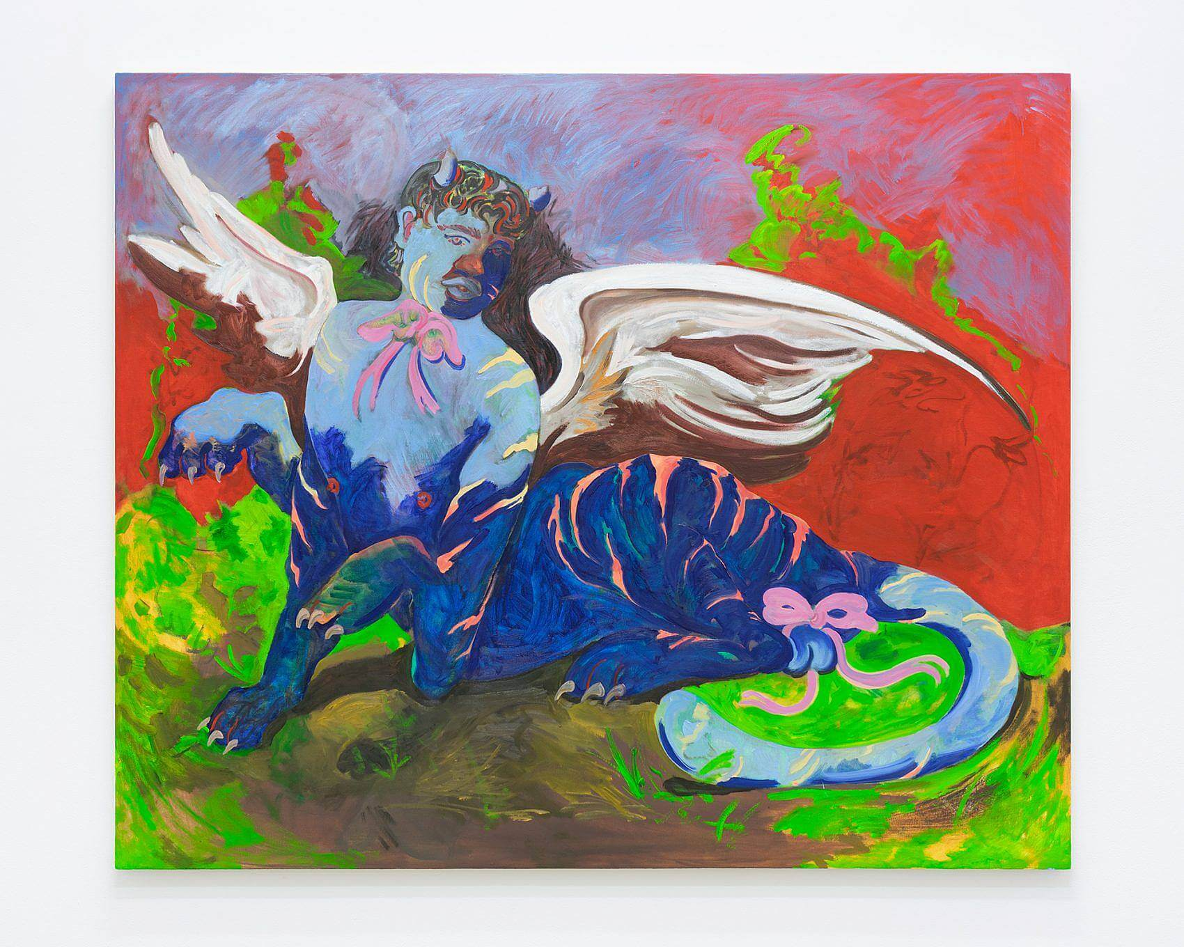 """Image Description: The work featured here is titled """"Final Fantasy"""" it measures 60 inches in height and 72 inches in width. The painting features a winged figure with a human upper body and the lower body of a tiger. The figure is blue and pink and is reclining on a red and green landscape."""