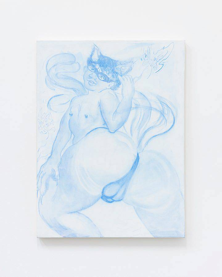 """Image Description: featured in this image is a work titled """"Bussy Boy"""" which measures 40 inches in height and 30 inches in width. The work is India ink and acrylic on canvas and features a human figure with horns and a tail like appendage who is turning around and facing the viewer. The work is predominately blue and white."""