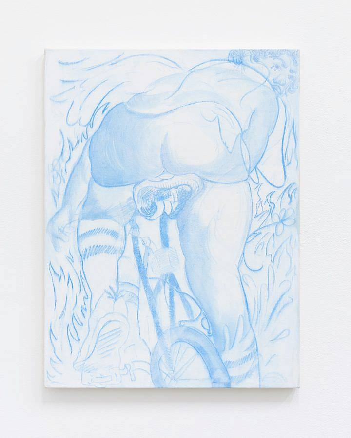 """Image description: The work featured is titled """"10 Speed Freak"""", this work measures 40 inches in height and 30 inches in width and is made using India ink and acrylic on canvas. The painting is blue and white and features a figure riding a bicycle in athletic clothes looking over their shoulder."""