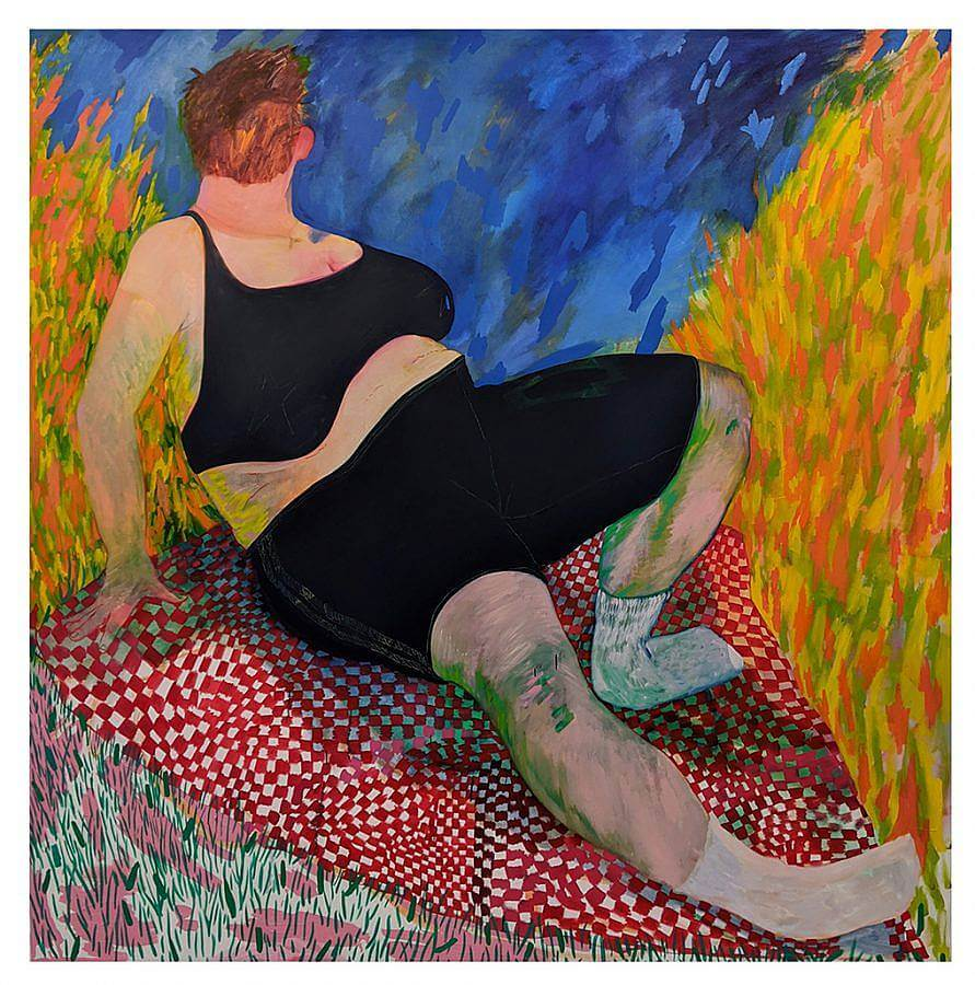 Image Description: This is a painting of a figure with red hair wearing a black sports bar, black shorts and white socks. The figure is laying on a check red and white blanket. They are surrounded by loose brushstrokes in shades of blue, orange, and yellow.