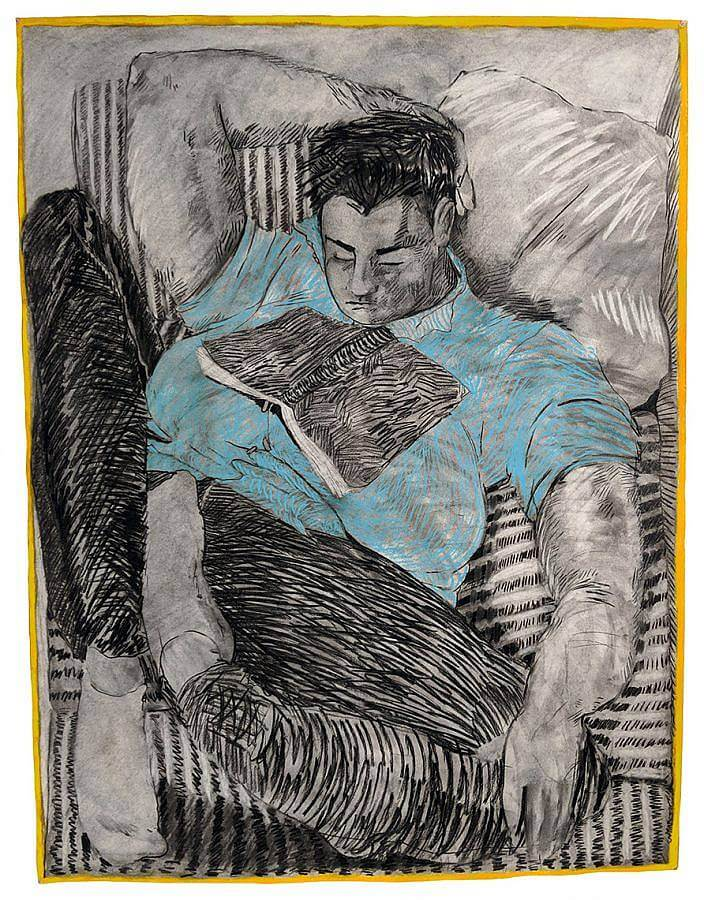 Image Description: This is a charcoal and pastel drawing of a figure leaning back with an open book on their chest. The figure is wearing a light blue shirt and the rest of the drawing is done in black and white. The figure has one hand behind their head, their legs are crossed, and their eyes are closed.