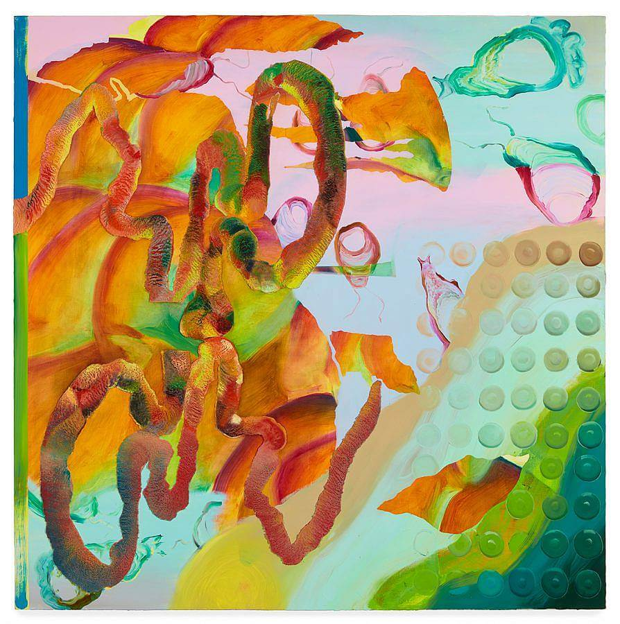 Surreal and abstract painting. Forms painted in saturated orange, red, and green, that look like tentacles move about on left side and foreground of the painting. Small wispy forms painted in red and green dances about in the background against a soft green,pink, and blue pastel background. To the right bottom corner is a serialized set of circles.