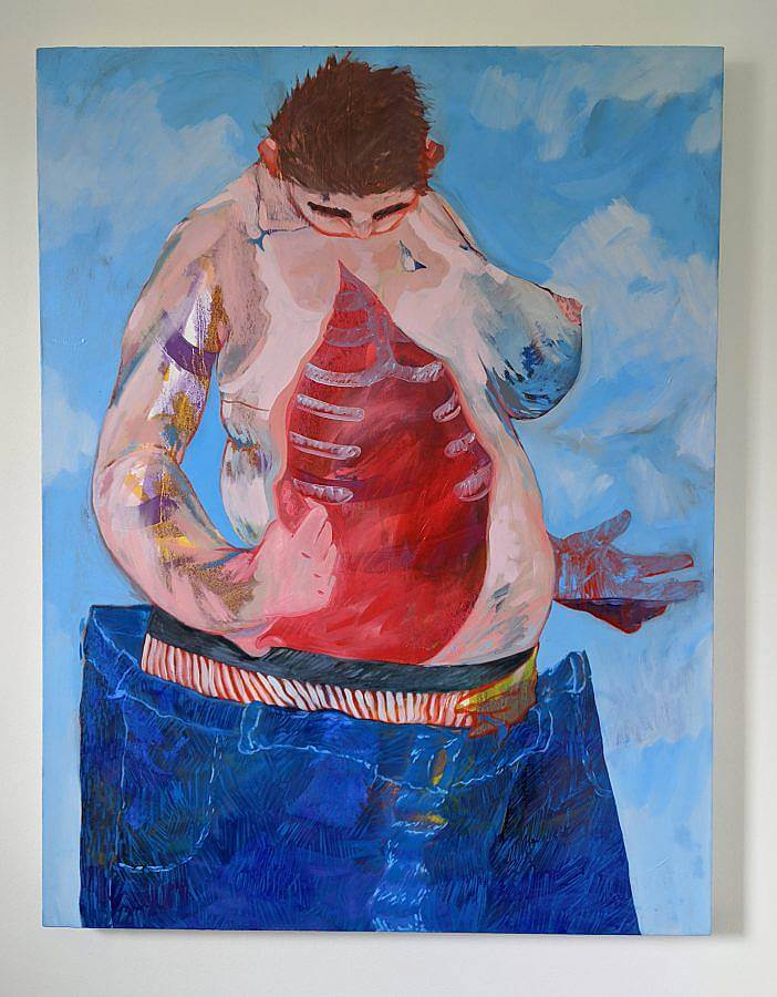 Image Description: This is a painting of a slightly abstracted figure opening up their chest. Inside the figure, the viewer can see the rib cage and the figure is looking down. They are also wearing oversized jeans ad are standing in a sky blue background with clouds.