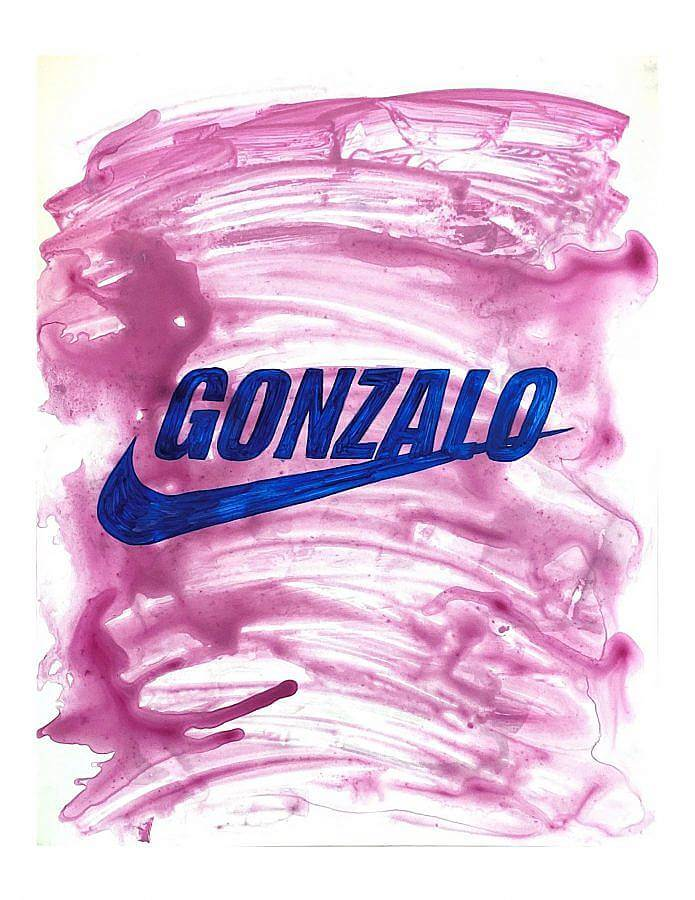 "Painting by Gonzalo Hernandez. In the middle of the painting the name ""Gonzalo"" is painted in blue bolded uppercase letters, just above the Nike emblem. The bottoms of the letters 'A' and 'L' intersect with the emblem, and the letter 'O' at the end is intersected through one third of itself. The backdrop is a washed-out dark pink, done with watery quick brush strokes."