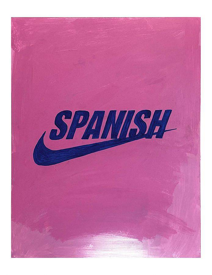 "Painting by Gonzalo Hernandez. In the middle of the painting the name ""SPANISH"" is painted in blue bolded uppercase letters, just above the Nike emblem. The bottoms of the letters 'I' and 'S' intersect with the emblem, and the letter 'H' at the end is intersected through one third of itself. The backdrop is a varying tones of pink, done with layered heavy brush strokes. The bottom of the painting is missing a layer of paint so it is lighter shade of pink."