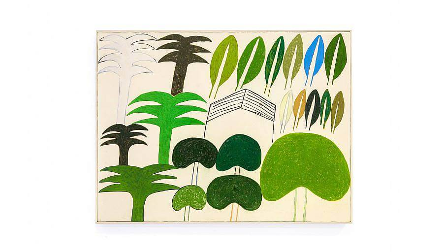 Photograph of a drawing. The drawings is on an off yellow canvas. Trees are show in different shades of green and brown on the left and bottom part of the image. There are palm trees and rounded trees. Some sort of barn is in the middle of the work. Leaves of all different natural colors are present in the top right corner.