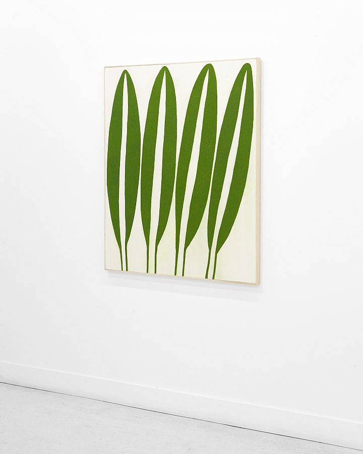 Photo of an acrylic painting on canvas. For long green leaves take up the canvas vertical-wise.