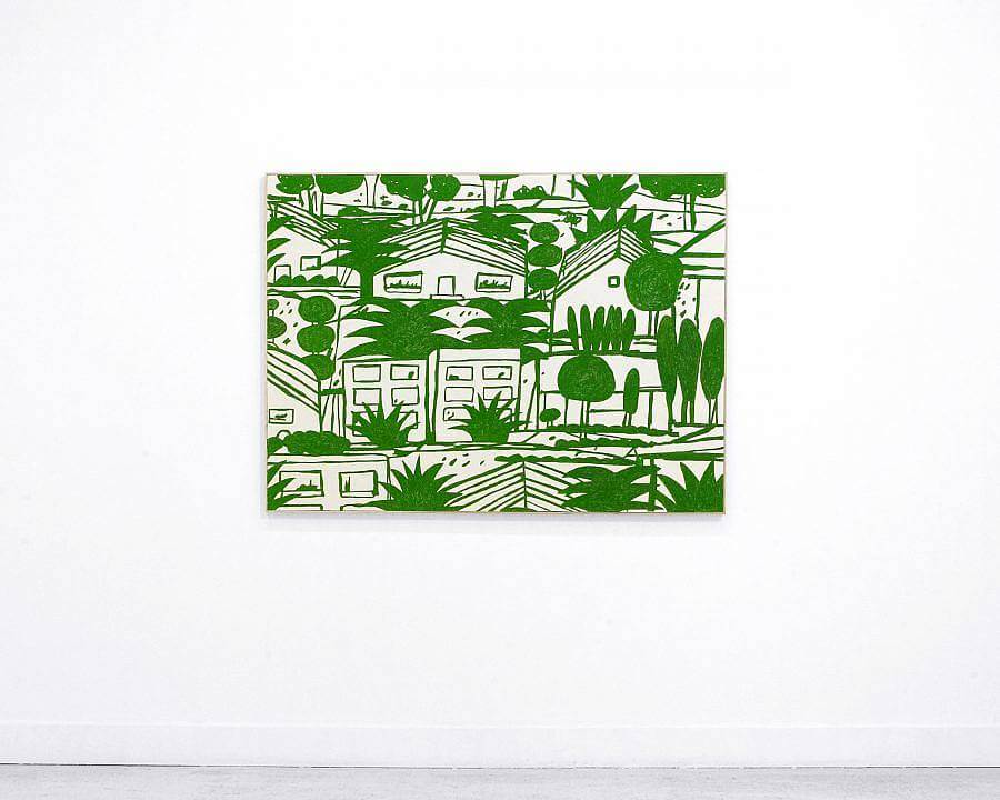 All green print. Palm trees and rounded trees are interspersed among line drawings of buildings.