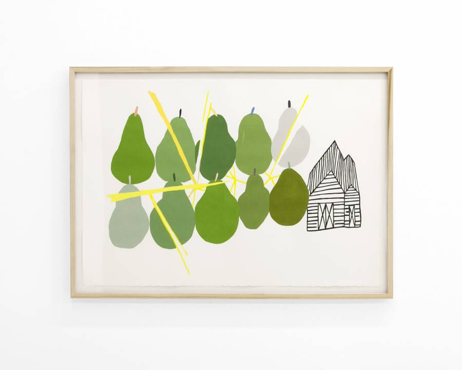 A framed painting. Ten pears are painted, five on top, five on bottom. They vary in color green, some are a soft grey. A barn is pictured next to them in black linework.