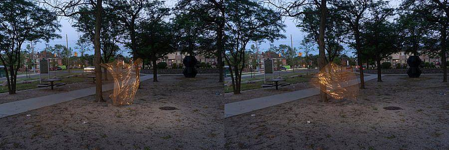 Diptych. In a park space at twilight a transparent golden clad figure can be see in movement, dancing.