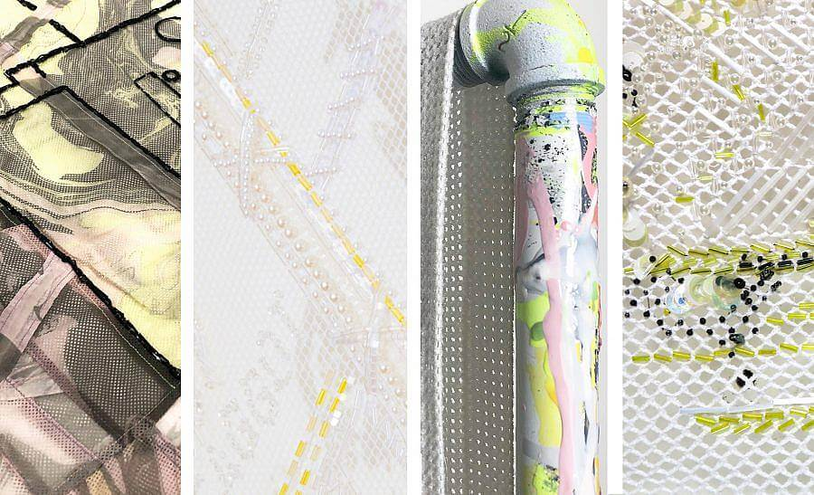 An image is separated into four vertical panels. Left panel features a marbled polyester mesh, Second to left panel features an embroidered and beaded white lace detail, some letters are visible in the lace, second to right panel features a pipe that is painted over with colorful brush strokes, a mesh cloth lays over it, Right panel features detailed lace with sequins and beads embroidered on it.