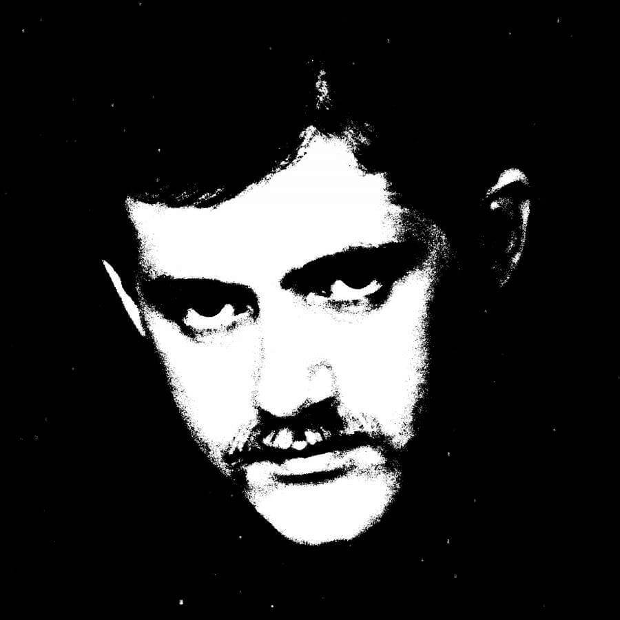 Close up black and white high contrast image of Patrick Crowley.