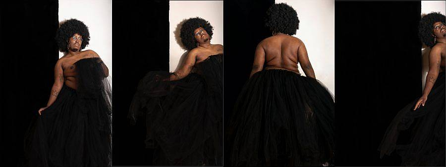 A black queer femme dances and moves in a series of four photos. They have a lustrous andl arge afro and wear glasses and earrings. The are only wearing a large long black tulle tutu that takes up much of the foreground of the four images.