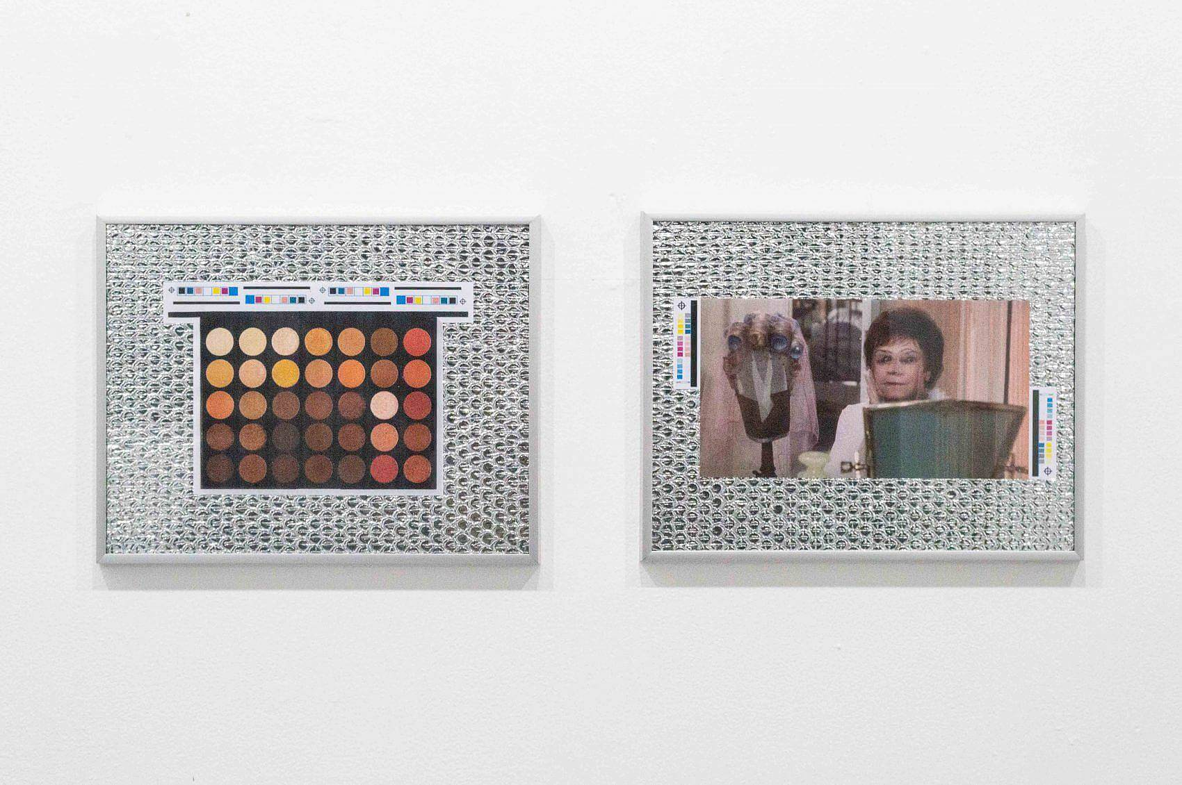 There are two framed collages side by side. Both contain images backed by silver freezer insulation. In the frame to the left is a 35-circle pan eyeshadow palette with warm-toned shades of brown, orange, yellow, red, and tan. In the frame to the right is a woman in a pink room facing the viewer with a turquoise mirror in front of her and a curly wig on a wig stand next to her.