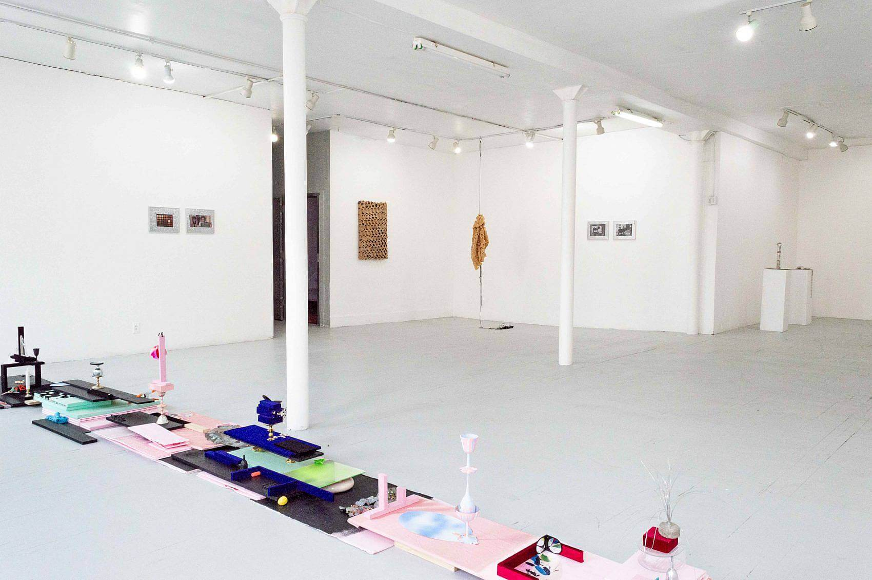 This is an installation shot of the exhibition. On the floor to the left is Madeline Gallucci's