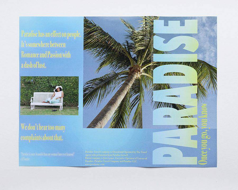 Image description: A light blue paradise pamphlet with an image of palm tree is displayed.