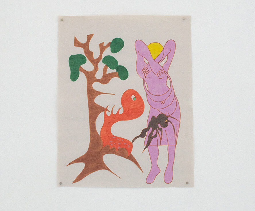 Image Description: Along the left side of the drawing is a tree with an abstract orange creature clinging to the base. To the right is a light purple figure with their arms folded over their head. They have yellow hair and are holding on to a purse.