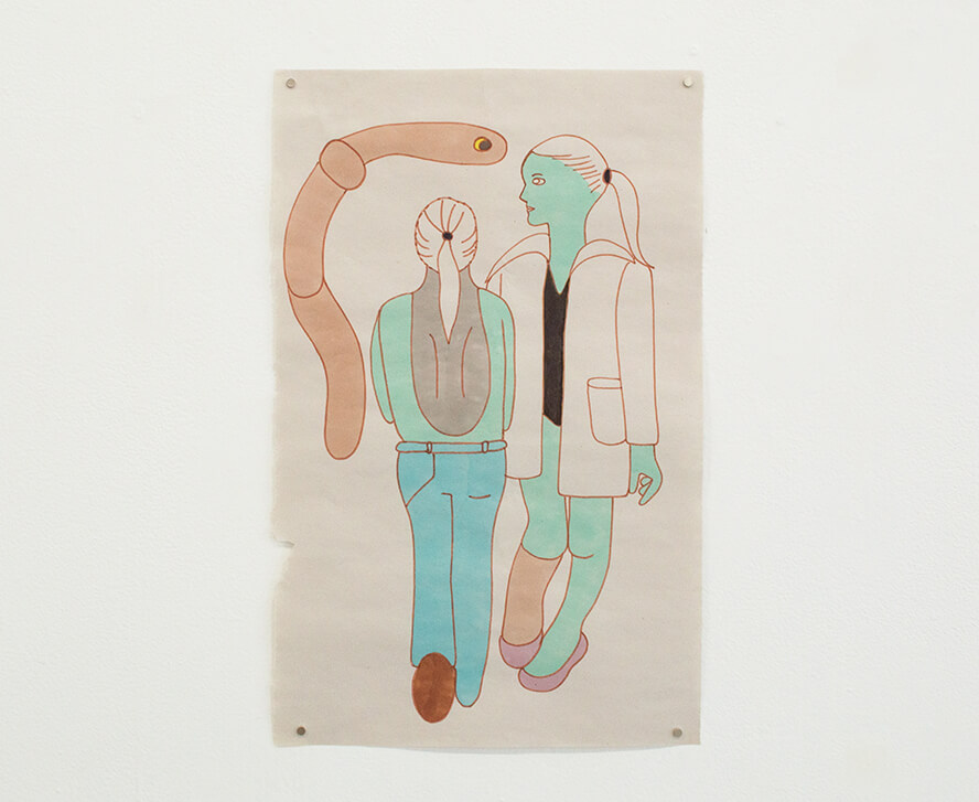 Image Description: There are two figures drawn in two shades of light blue. The figure in the center has their back to the viewer and the figure to the right is facing the viewer and looking to the left. A large worm with yellow eyes is curved in the upper lefthand corner.