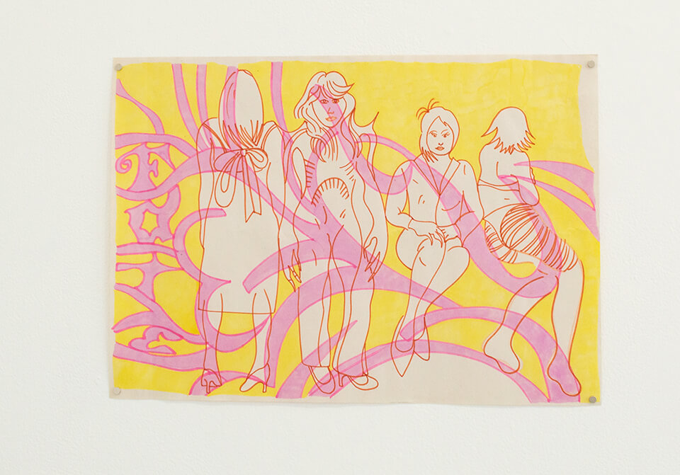 Image Description: This is a drawing with a yellow background and multiple curving pink shapes moving throughout. On the left side, the word