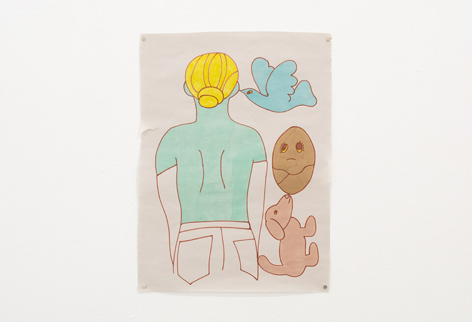 Image Description: This is a drawing of a light-blue green figure with yellow hair from behind. To the right of the figure from top to bottom is a blue bird, a tan egg with a frowning face, and pink-toned tan dog.