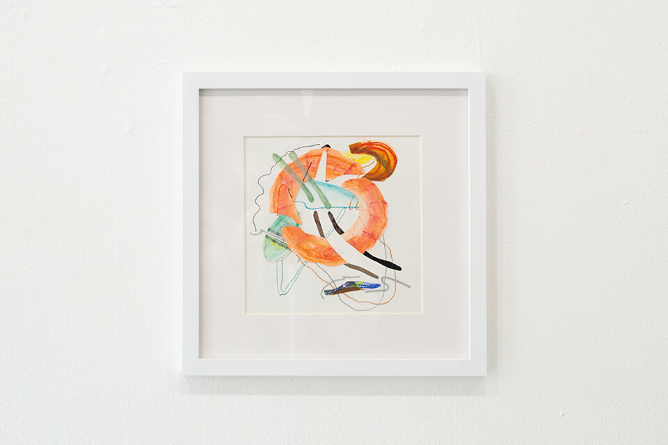Image Description: This is a square abstract drawing incorporating multiple forms and lines in various mediums. Most prominent in the piece is a thick orange circle with an open center. It is obstructed with thick light green lines and strips of paper woven in and out of the drawing.