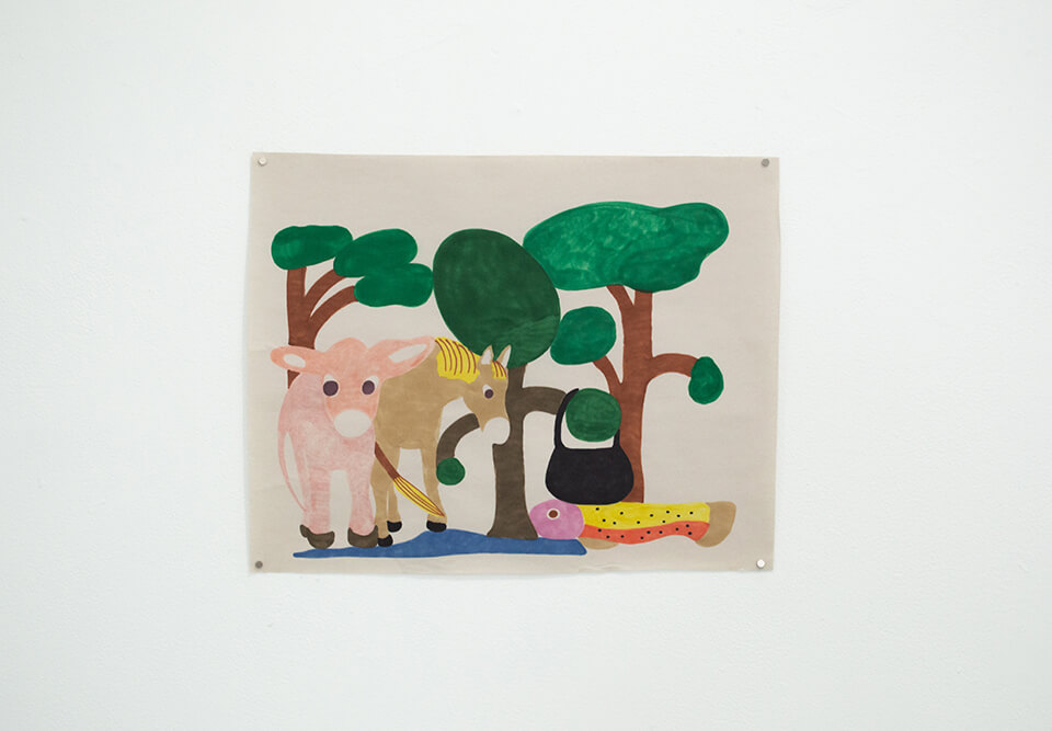 Image Description: This is a drawing of three animals: one light pink cow, a tan horse with yellow hair, and a yellow, orange, and pink fish. There are three trees in the background with a small pool of water at the bottom of the page. A black purse is hanging from one of the tree branches.