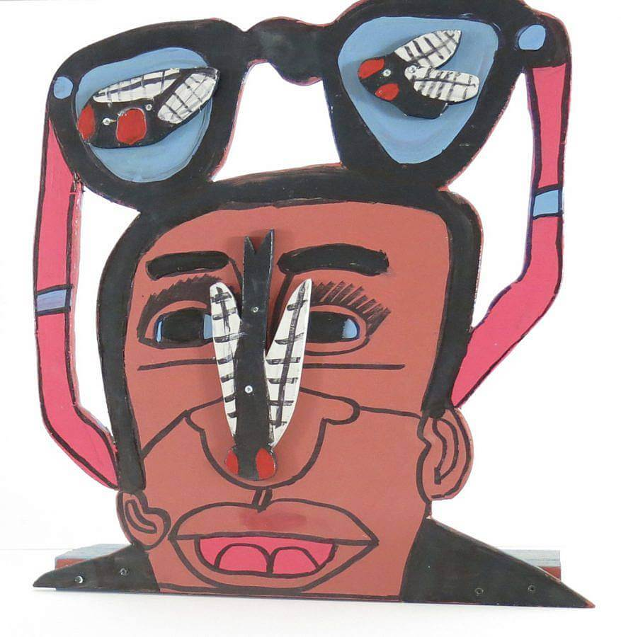 Image description: A painted illustration of a black man with a fly on his nose, a pair of glasses is above his head, images of illustrated flies appear in both frames.