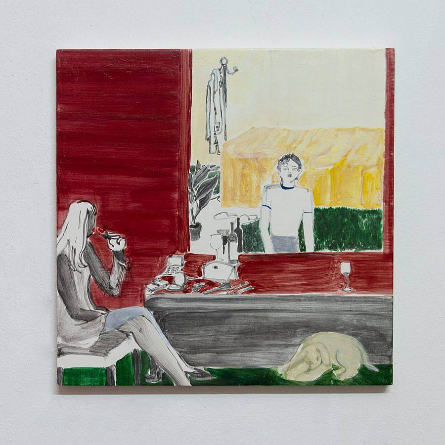 In the lower left corner, a figure sits in a gray and white chair drinking red wine. There is a bottle of wine and some make up on a gray table in front of the figure. In the bottom right corner, a yellow dog sleeps on a green floor. The walls are painted red with a large mirror hanging on the wall. In the mirror a figure is pictured looking at the viewer. Behing the figure is a yellow bed, coat rack, and potted plant.