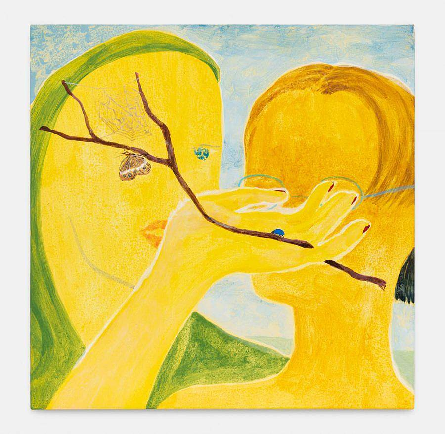 Two yellow figures stare into each other. the figure facing us holds their hand up to the other with a twig in their hand. On the twig is a spiderweb and moth.
