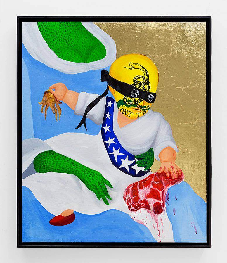 Image description: A painting of a child on the lap of a reptilian woman. We see her arms and chest. She wears a blue flowy dress. The child has a yellow don't tread on me painted all over his head. He is blindfold with a black cloth that has two dye where the eyes should be. The child holds a big steak in their left hand and a squid in their right.