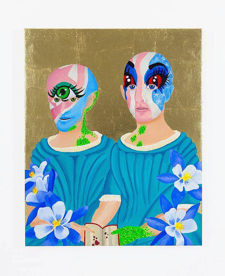 Image description: A painting of two white figures, who have reptilian skin showing beneath their skin are depicted. They have vibrant face paint on, the one on the left has a bright green eye and the one on the left has vibrant all-red eyes on their mask. They both wear blue fabric. The background is gold. Flowers frame the lower half of the painting.
