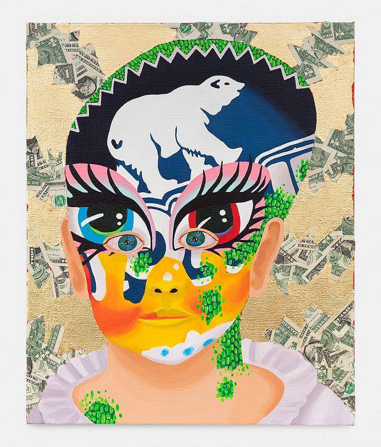 Image description: A painting of a child with an enlarged head wears face paint. This painting mask features a bright blue and bright red eye. Reptilian skin peaks out amidst the boy's other skin. The background is gold-leaf and fake money.