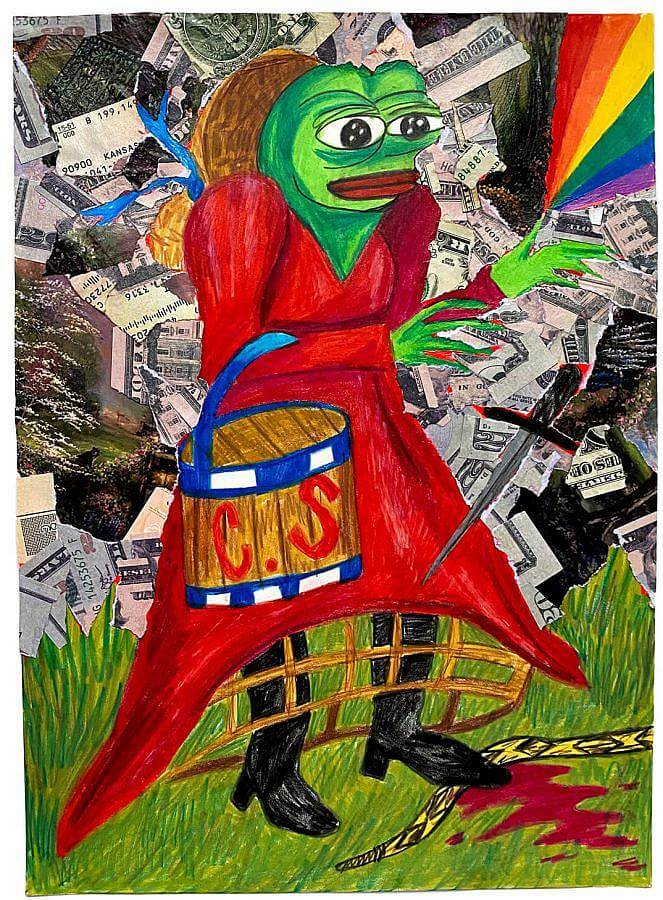 Image description: An illustrated drawing of pepe the frog is done in bright colored pencil. Pepe is dressed in a red petticoat dress, evoking Thomas Kinkade. The background is a collage of cut up fake u.s. cash. There is blood on the ground and pepe treads on a snake.