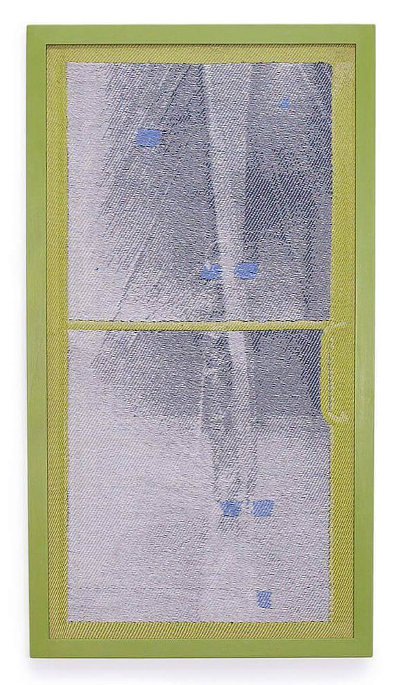 Image description: This is a woven image of a vertical rectangular window. The window frame is a light green, as is the frame, and through the window, in light grays, is what appears to be an icicle with the occasional light blue square.