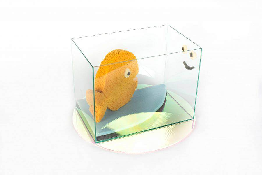 Image description: A fish out of sponge is in a glass case. A small sponge smiley face is on the side of the case opposite of the fish.