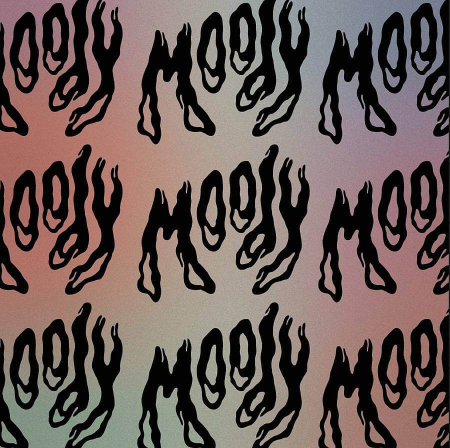 """Image description: In the image the work """"Moody"""" is displayed nine times in a grid of three by three. The center text is the only time the title is fully shown. The typeface is thick, wavy and painterly. The background is a grainy pastel gradient going from red, to purple, blue, and green."""
