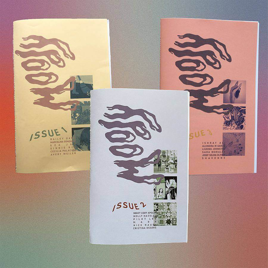"""Image description: Three zines are depicted, all with the title """"Moody"""" display sideways in large wavy typeface. From the left the first issue is a pale yellow then lavender, then a burnt peony. Each says their Issue number, going from issue 1 to to issue 3 from the the left, and has three images depicted in squares on its lower right quadrant,"""