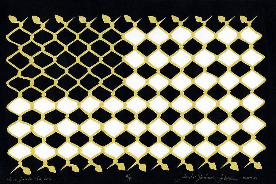 Image Description: This is a screen print on black paper of a chain link fence. The fence is a light tan and 3/4th of the centers are filled with white. The shape created through the white alludes to an American flag.