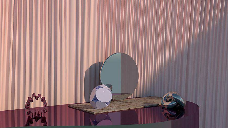 Image Description. There is a purple metallic half-circle table with various on objects on top. The objects also appear to be metal and are in various shades of purple. There is also a small circle mirror leaning against the wall lined with a wavy light purple curtain.