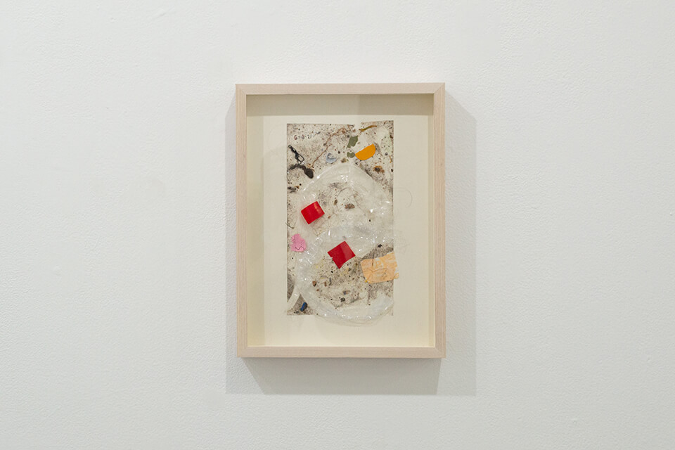 Image description: This is a work by Justin Nalley titled; Untitled (Studio Floor 060621). This work resembles a collection of dust and debris that is stuck to a large piece of tape and is framed in a wooden, recessed, rectangular frame.