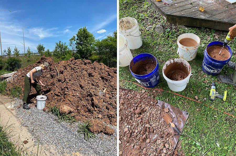 Image Description: There are two photos side by side. On the left is a photo of someone digging into a large pile of dirt and shoveling into a white industrial bucket. The photo to the right is taken from above of a set of industrial buckets filled with clay and being mixed.