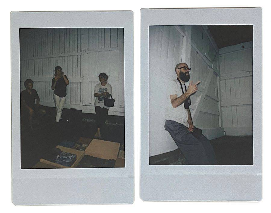 Image Description: These are two polaroid photos side by side of various visitors in the gallery space. Some are leaning on the walls or sitting and appear to be having a discussion.