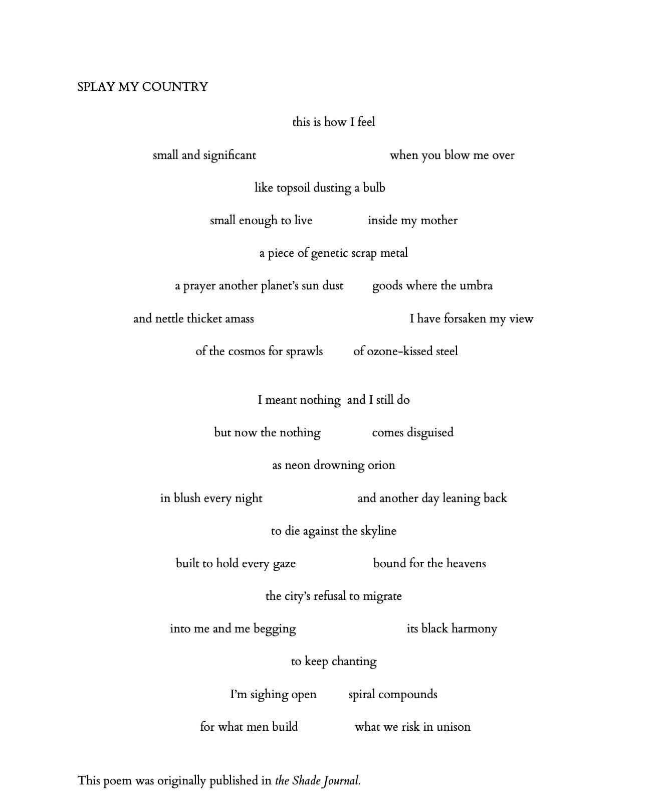 Poem: SPLAY MY COUNTRY - Xandria Phillips